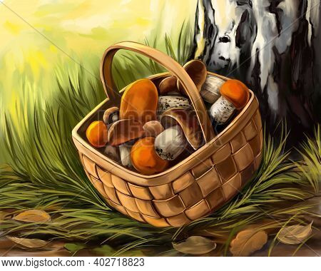Mushrooms In A Basket In A Clearing, Autumn Landscape Hand Drawn Illustration Realistic Sketch Color