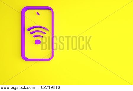 Purple Smartphone With Free Wi-fi Wireless Connection Icon Isolated On Yellow Background. Wireless T