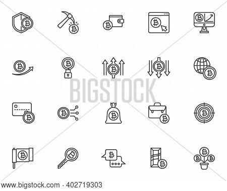 Blockchain Technology Line Icons Set. Cryptocurrency Linear Style Symbols Collection, Outline Signs