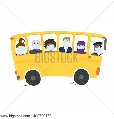 People In Medical Masks Ride The Bus. Traveling African American Girl, Hipster Businessman, Old Man,