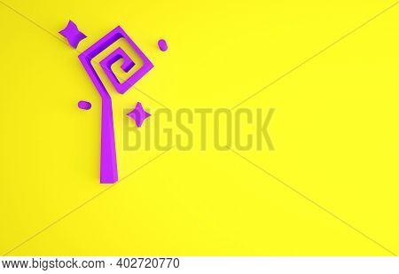 Purple Magic Staff Icon Isolated On Yellow Background. Magic Wand, Scepter, Stick, Rod. Minimalism C