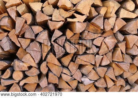 Stacked Firewood For Kindling The Stove. Background