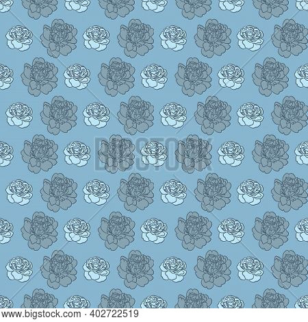 Blue Peony Floral Repeat Pattern Design, Vector Seamless Repeat Pattern Design.