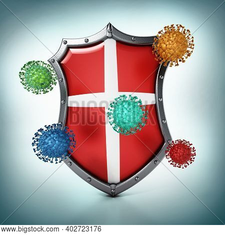 Colored Viruses And Shield Isolated On White Background. 3d Illustration.