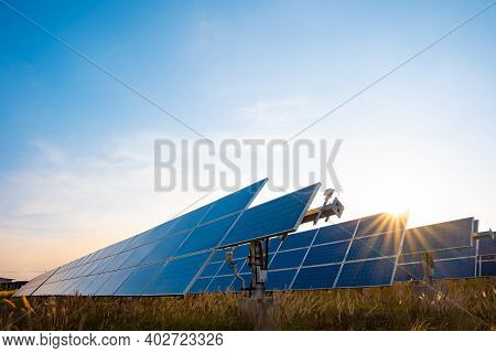 Solar Plant(solar Cell) With The Summer Season, Hot Climate Causes Increased Power Production, Alter