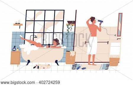 Young Couple During Everyday Hygiene Rituals In Bathroom. Woman Surfing Internet In Smartphone And L