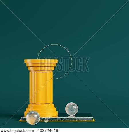 Yellow Pedestal With Column, Circle Frame And Spheres On Dark Green Background. Minimalism Concept.