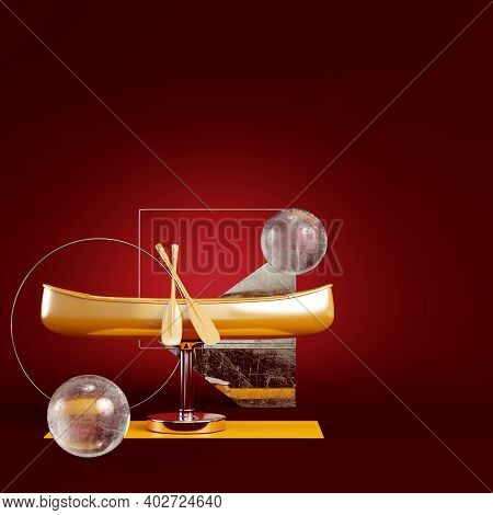 Yellow Canoe With Geometric Frames And Spheres On Dark Red Background. Minimalism Concept. 3d Render