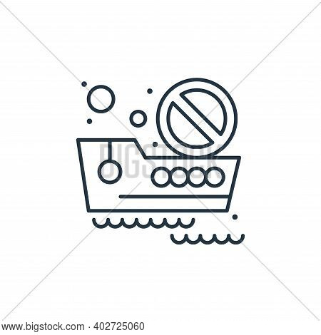 no travelling icon isolated on white background. no travelling icon thin line outline linear no trav