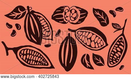Cocoa Pod And Many Raw Beans Set Isolated On A Orange Background. Organic Cocoa Beans Logo Template.