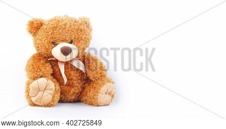 Toys - Baby Teddy Bear Sits On White Background