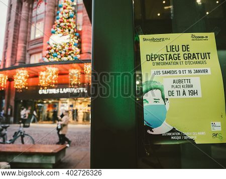 Strasbourg, France - Jan 7, 2021: Advertising Board Of Free Covid-19 Test In Central Place Kleber Sq