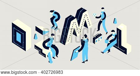 A Roller Skater Jumps On A Trampoline, A Group Of People Play Sports, 3d Isometric Letters - All Obj