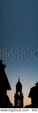 Belfry Silhouette With Plain Sky In The Background