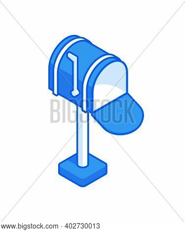 Cartoon Vector Design Of Open Blue Mailbox