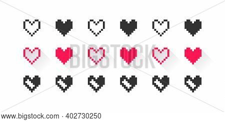 Hearts Pixel Icons Set. Black And Red Pixel Icons. Pixel Art Hearts On White Background. Vector Illu