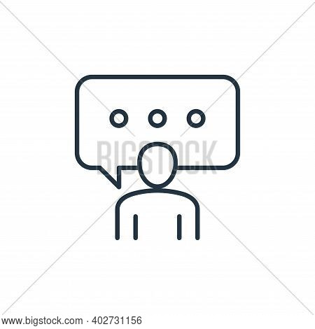 speech icon isolated on white background. speech icon thin line outline linear speech symbol for log