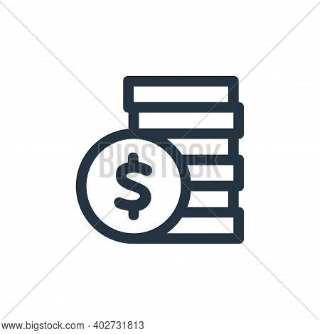coins stack icon isolated on white background. coins stack icon thin line outline linear coins stack