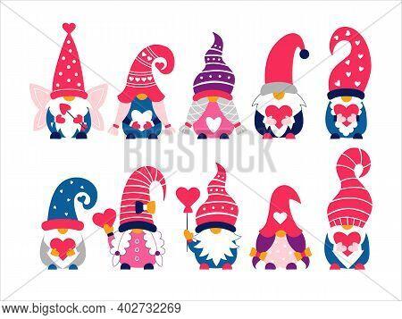 Valentine Cute Gnomes Dwarfs Hand Drawn Vector Illustration