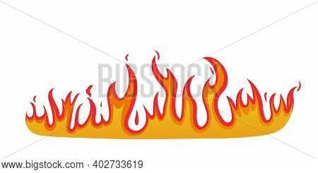 Fire Icon. Logo Of Flame. Graphic Symbol Of Hot Fire. Ignite Of Bonfire. Red Blaze Isolated On White