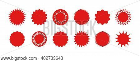 Star Stickers. Badges Of Burst. Red Circles For Sale And Promo. Starburst Icons For Tags And Prices.