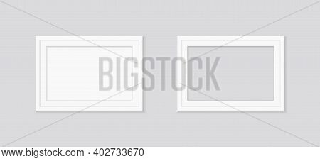 White Frame For Picture And Photo. Square Mockup Of Photoframe On Wall. Realistic Wooden Frame Isola