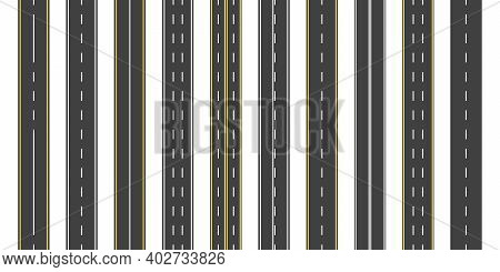 Asphalt Road. Seamless Straight Highway With Line. Street, Roadway For Car With Yellow, White Strips