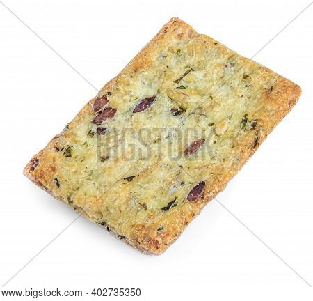 Salted Cracker Isolated On White Background. Crushed Dry Cracker Cookie With Herbs, Top View