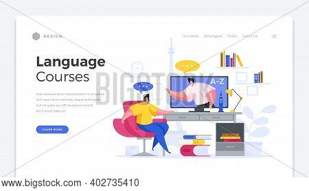 Language Web Courses Home Page Template. Male Character Online Teacher Explains To Student In Distan
