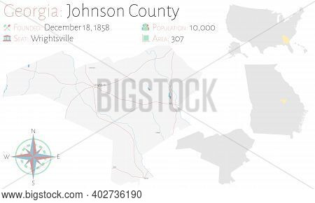 Large And Detailed Map Of Johnson County In Georgia, Usa.