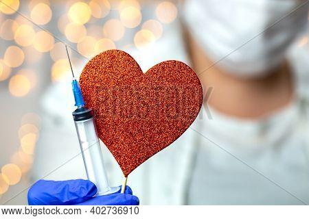 Doctor, Nurse, Scientist, Researcher Hand In Blue Gloves Holding Flu, Measles, Coronavirus, Covid-19