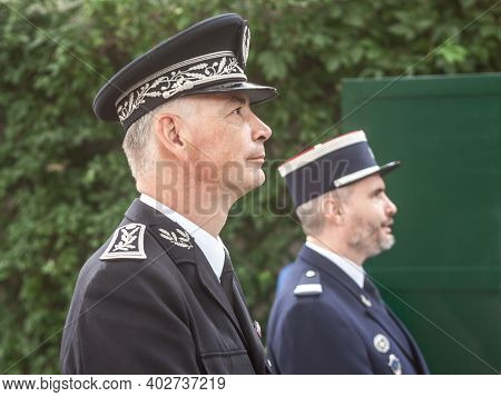 Paris, France - July 12, 2019: Commissaire Divisionnaire Of The French Police National Forces In For