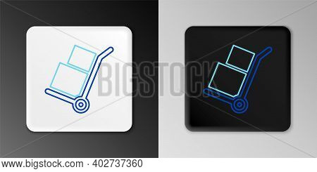 Line Hand Truck And Boxes Icon Isolated On Grey Background. Dolly Symbol. Colorful Outline Concept.