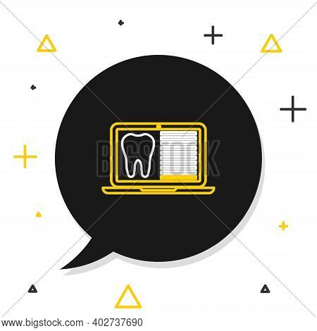 Line Laptop With Dental Card Or Patient Medical Records Icon Isolated On White Background. Dental In