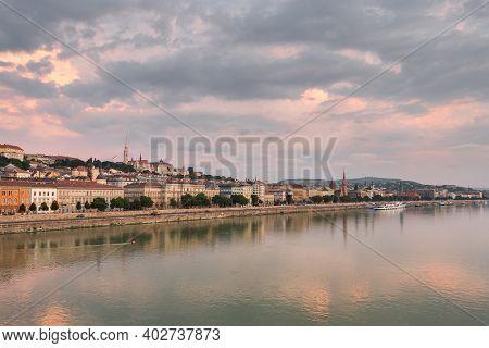 Landscape of the Buda side of Budapest at sunrise, Hungary