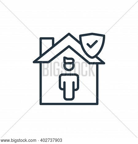 stay home icon isolated on white background. stay home icon thin line outline linear stay home symbo