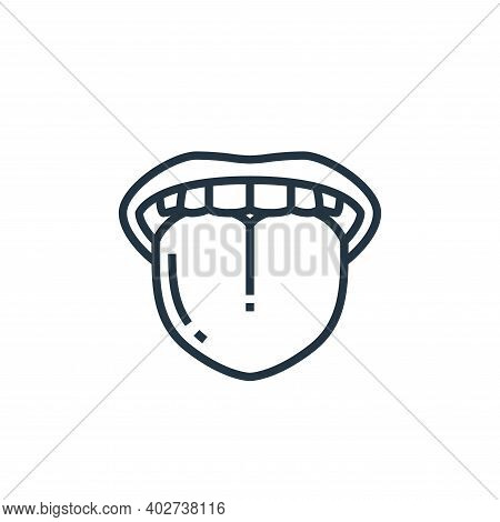 tongue icon isolated on white background. tongue icon thin line outline linear tongue symbol for log