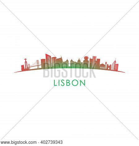 Lisbon Skyline Silhouette. Vector Design Colorful Illustration.