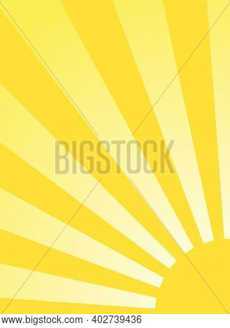 Sunlight Retro Narrow Grunge Background. Green And Beige Color Burst Background. Vector Vertical Ill