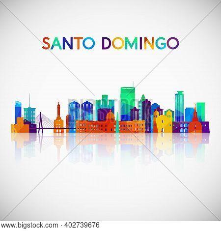 Santo Domingo Skyline Silhouette In Colorful Geometric Style. Symbol For Your Design. Vector Illustr