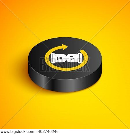 Isometric Line Waiting Icon Isolated On Yellow Background. Wait Time Icon. Hourglass Clock. Black Ci