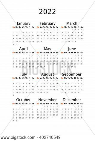 2022 Yearly Calendar, Vertical A4 Format, Week Starts Sunday. Annual Calendar Template For Business