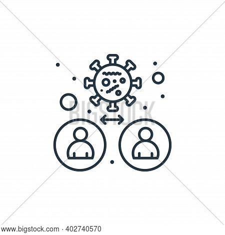 virus transmission icon isolated on white background. virus transmission icon thin line outline line