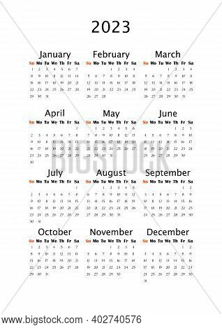 2023 Yearly Calendar, Vertical A4 Format, Week Starts Sunday. Annual Calendar Template For Business