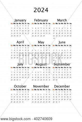 2024 Yearly Calendar, Vertical A4 Format, Week Starts Sunday. Annual Calendar Template For Business