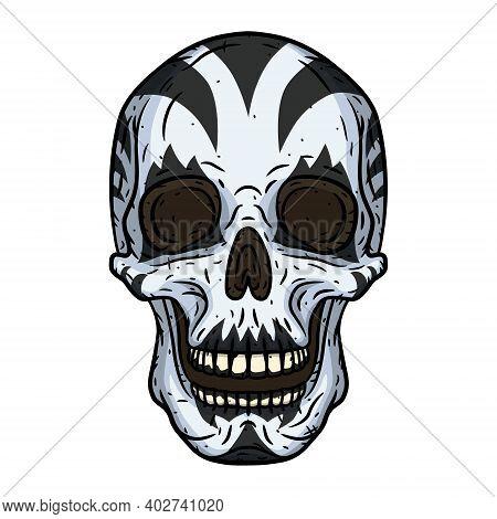 Skull. Clown Skull Isoleted In White Background.