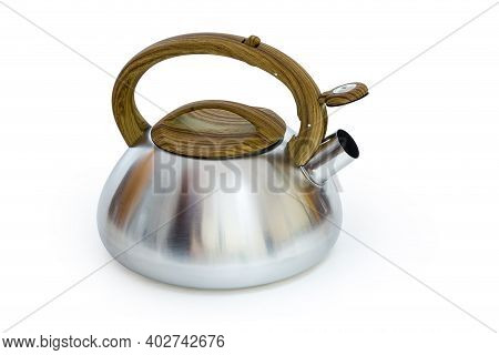 Stainless Steel Stovetop Kettle With Steam Whistle Built-in In Spout On A White Background