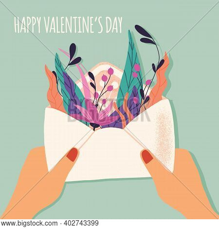 Envelope With Love Letter. Colorful Hand Drawn Illustration With Handlettering For Happy Valentine's