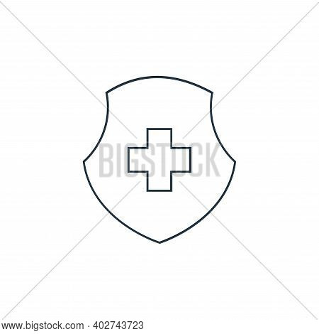 medical shield icon isolated on white background. medical shield icon thin line outline linear medic