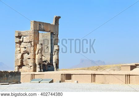 Gate of All Nations (Xerxes Gate) with stone statues of lamassu in ancient city Persepolis, Iran. UNESCO world heritage site